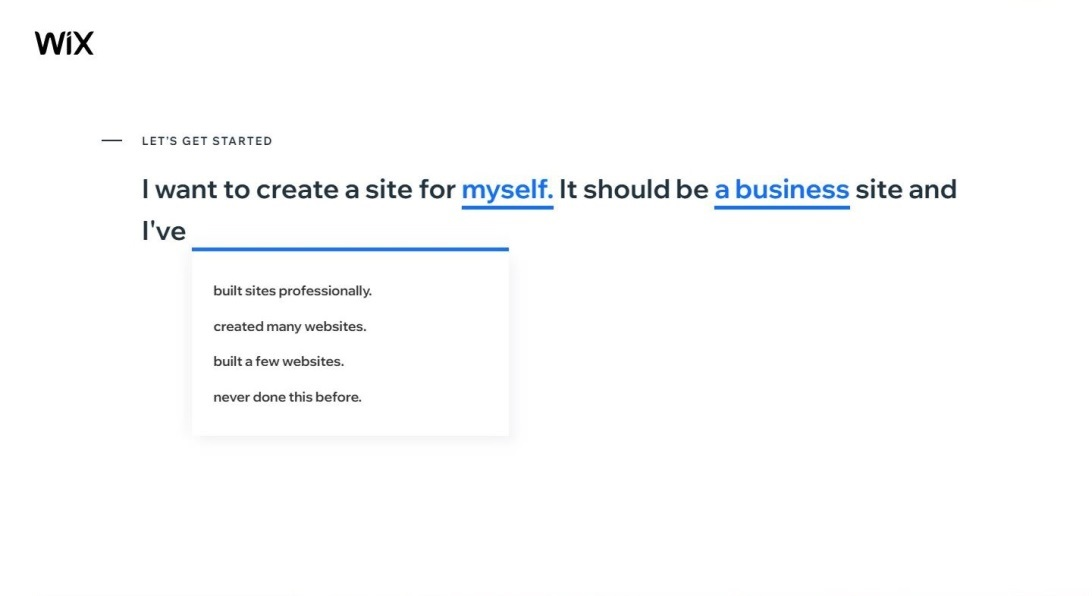 step 2 wix how to create a website